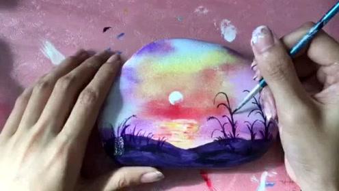 教你画美丽的夕阳风景 巧梦石艺石头画教程