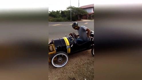泰国牛人把油桶改装成汽车 村民争相订购