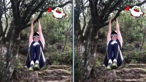 刘嘉玲沉迷登山自在快乐 挂树上运动仿佛返老还童