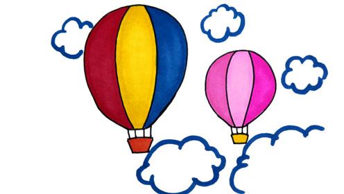 2分钟简笔画,漂亮的七彩热气球