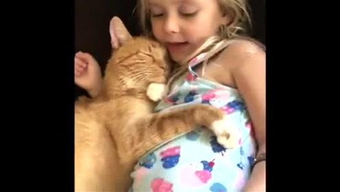 小宝宝在带着他的猫猫沐浴阳光