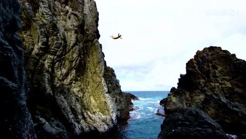 激情夏威夷!在悬崖上的极限跳水!