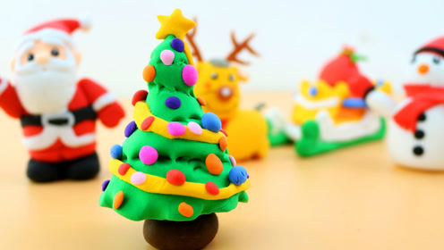 巧手益智:圣诞节用超轻黏土制作圣诞树,好玩的彩泥手工diy