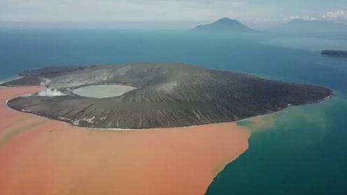 鸳鸯锅?印尼喀拉喀托火山爆发后多角度航拍画面曝光
