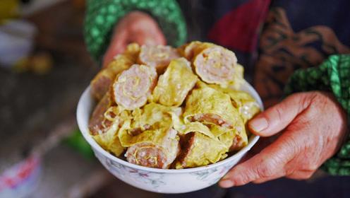 老家的这一碗纯手工蛋卷,是在城市里打着灯笼也找不到的年味!