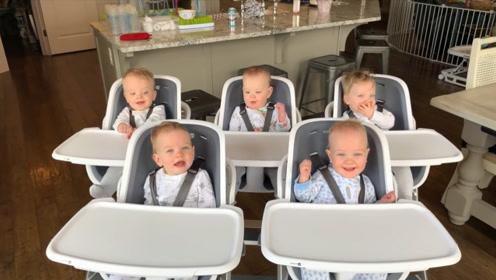 五胞胎宝宝太可爱了,快被全家人玩坏了