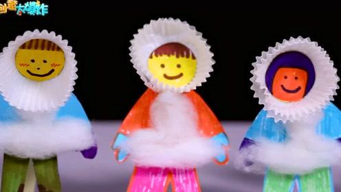 创意手工diy:幼儿园宝宝手工作品,纸杯蛋糕托制作雪天小勇士