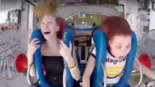 美女子和好友玩弹弓椅激励对方自己却几度昏厥