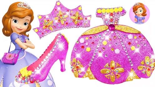 用彩泥给索菲亚公主做裙子高跟鞋和皇冠,做法简单,手工diy