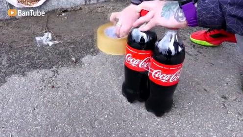 小伙用可乐做轮胎装车上跑,现在拍视频的成本真是越来越高了