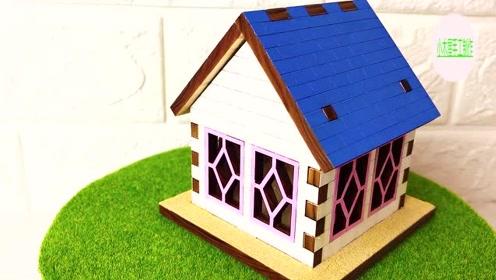 多彩创意,纯手工制作视频,用纸板制作小木屋