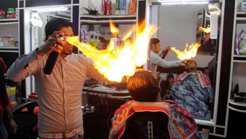 """印度理发师用""""火""""理发,顾客源源不断,网友:不怕烧成秃子?"""