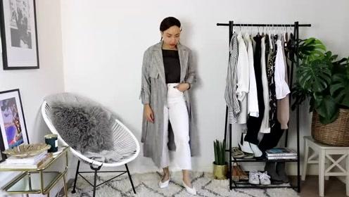 一条白裤子,从夏穿到冬!微胖小个子白裤子12种穿法,简约时髦