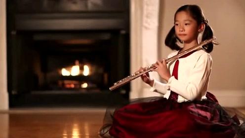 可爱的小萝莉长笛演奏《斯卡布罗集市》旋律太优美了
