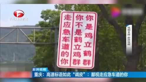 """如此""""调皮""""高速标语:鄙视走应急车道的你"""