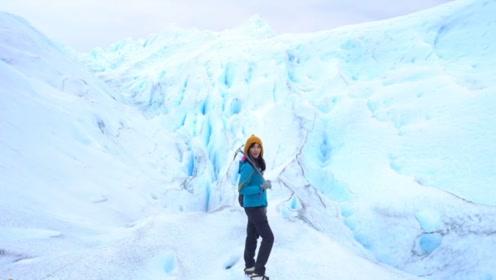 """夏日绝对消暑篇女主播徒步穿越阿根廷""""活""""冰川"""