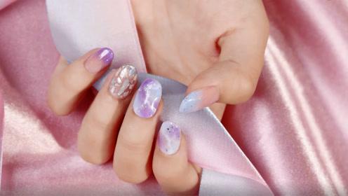 清新迷幻紫色系晕染石纹美甲 在指尖上打造一片属于你的星云