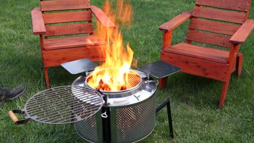 用洗衣机滚筒改装烧烤架,比买的好用多了,这个夏天有的吃了