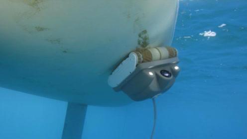 真有两把刷子,爱往水里钻的机器人,把船洗得干干净净