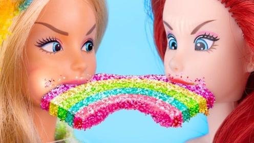 创意恶作剧,彩虹食物对抗芭比的恶搞食物,哪种食物更好吃?