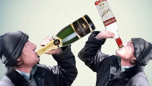 俄罗斯男子一口气连喝一瓶白酒一瓶香槟,看看结果怎样?