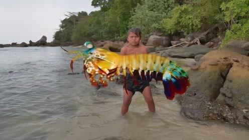 重40多斤的龙虾有多恐怖?钳子比大腿还粗,煮熟后吃货不淡定了