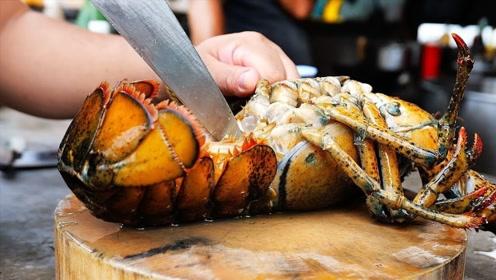 泰国人做龙虾太狂野,一言不合就剁碎,波士顿龙虾做成这样太可惜
