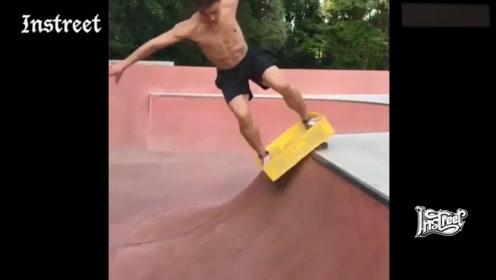 牛奶筐改装成的滑板,其实还挺好玩的