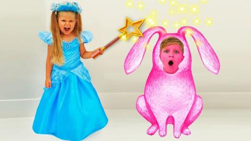 萌娃获得魔法棒,变出一屋子衣服,最后还把哥哥变成小动物!