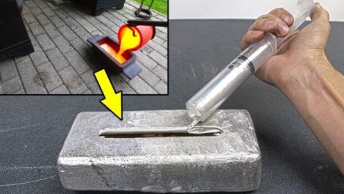 将液镓倒在一块几公斤重的铝锭上会如何?老外实测,转眼分崩离析