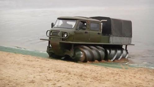 3辆俄罗斯硬派越野车,第1辆没有车轮却能上山下水
