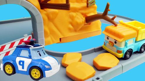 变形警车珀利的山体滑坡场景玩具