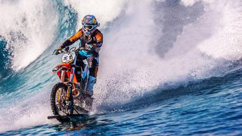 外国牛人将摩托车改装,挑战海上骑行,过程赏心悦目!