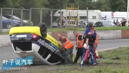 还有这种奇葩汽车比赛?比赛那辆汽车翻车落地姿势最帅