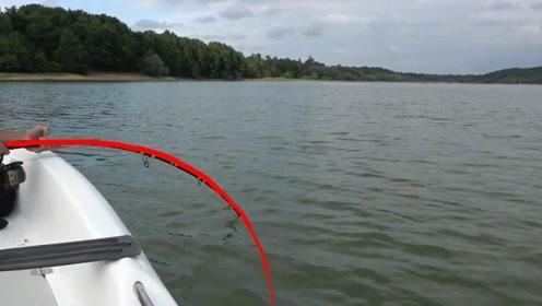 钓到大家伙了,鱼竿直接被弓入水,钓友激动的腿不停发抖