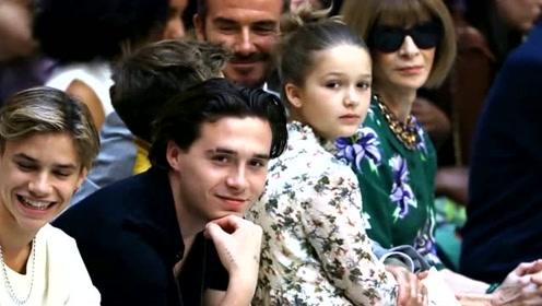 贝克汉姆全家亮相时装周,小七被团宠,超模竞相和她合影