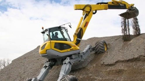 建设在悬崖上的工程,挖掘机是如何上山的?外媒:中国的智慧!
