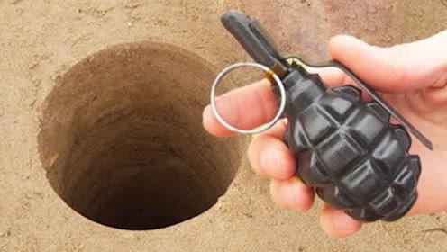 """老外作死将""""手雷""""投入""""深坑洞穴"""",3秒后,场面直接失控!"""