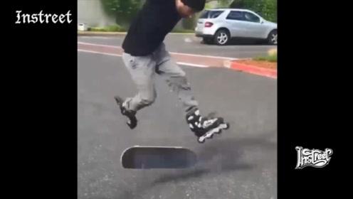 穿着轮滑鞋玩滑板,还能放大招,厉害了