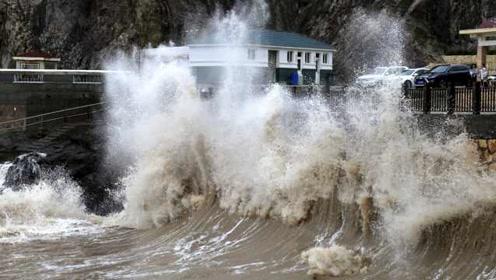 """秋台风""""塔巴""""来袭,浙江温岭刮起11级大风,海面巨浪滔天"""