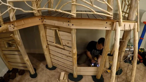 工程师爸爸晚上变木工,8个月打造梦幻树屋,造价不到4000元