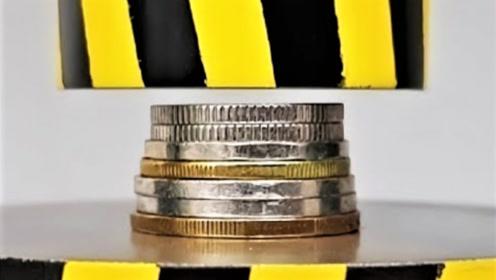 100吨液压机VS硬币会怎样?网友:这才叫压岁钱!