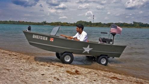 """国外牛人自制""""水陆两栖船"""",真的能水上行驶,你知道原理吗?"""