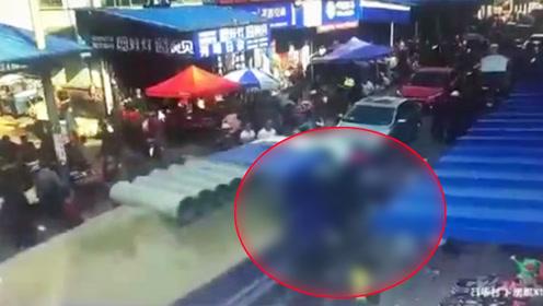 监控曝光湖南湘潭10死16伤事故 系货车刹车失灵导致