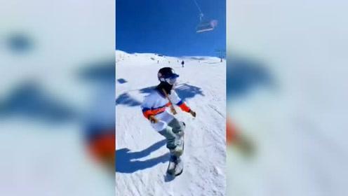 极限运动,在这么美的山上滑雪,太刺激了