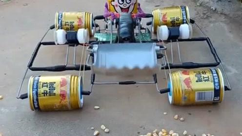 老爸给儿子手工制作的推土车,儿子玩半天了没玩够,你们喜欢吗?
