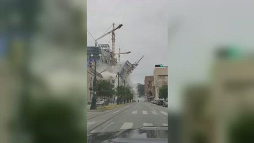美国新奥尔良一在建酒店部分垮塌 致1死3失踪