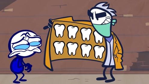铅笔人遇到无良牙医,设计拔掉牙齿卖给恶魔,最后的结局大快人心