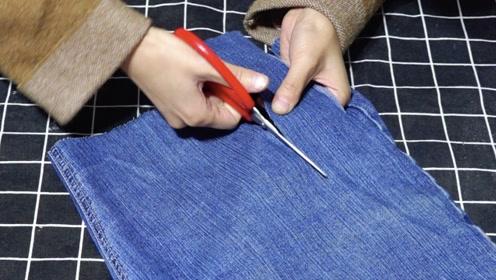 不穿的牛仔裤剪成布条,戴在头上太漂亮了