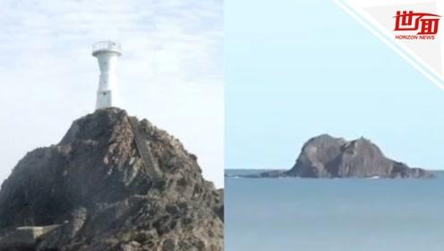 """""""海贝思""""的威力!日本海上8.8米高钢筋混凝土灯塔被大浪冲走"""